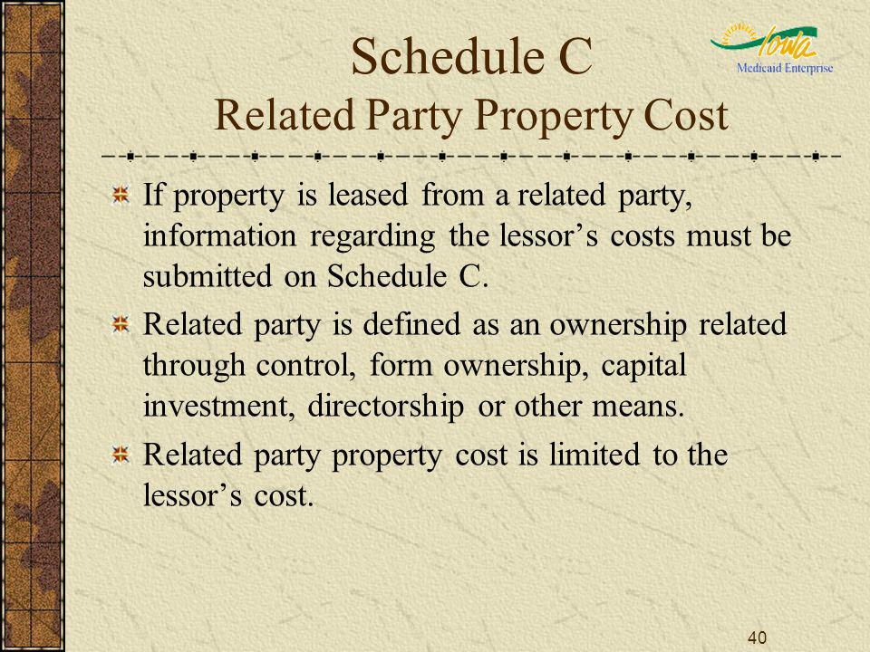 40 Schedule C Related Party Property Cost If property is leased from a related party, information regarding the lessors costs must be submitted on Schedule C.