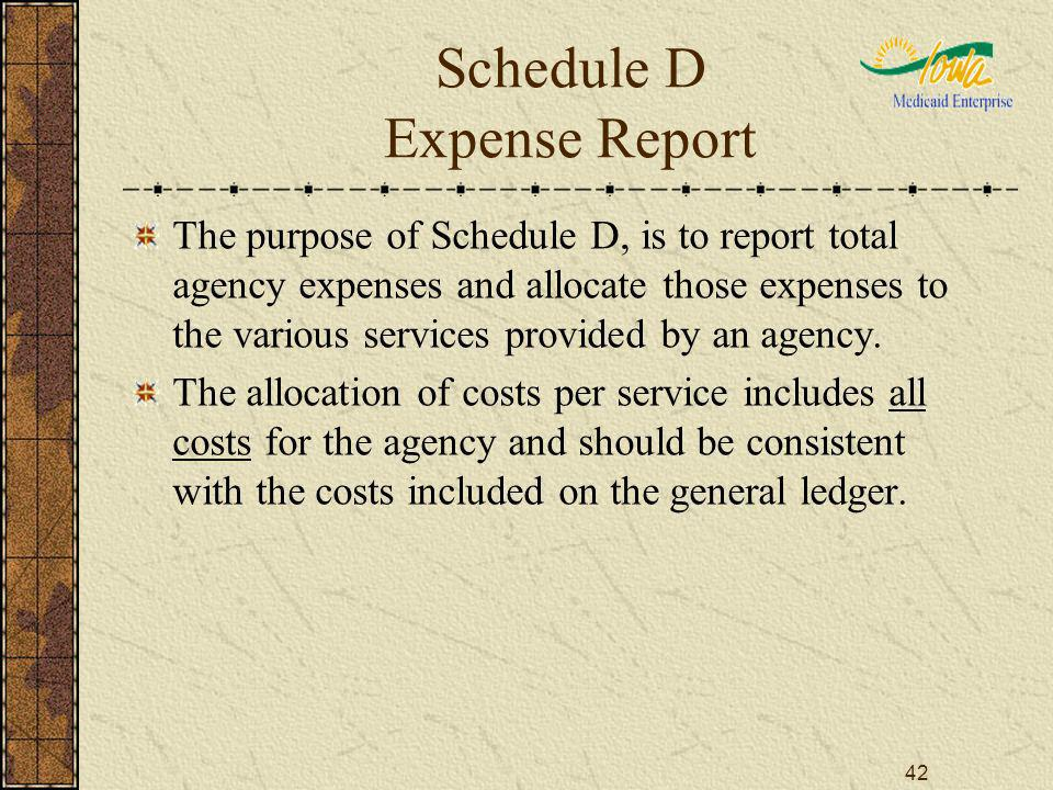 42 Schedule D Expense Report The purpose of Schedule D, is to report total agency expenses and allocate those expenses to the various services provided by an agency.