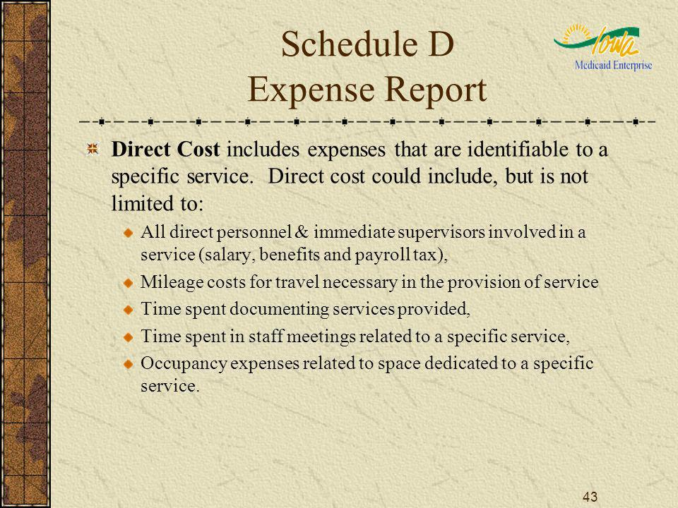 43 Schedule D Expense Report Direct Cost includes expenses that are identifiable to a specific service. Direct cost could include, but is not limited