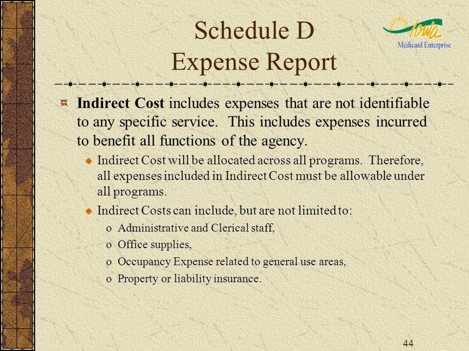 44 Schedule D Expense Report Indirect Cost includes expenses that are not identifiable to any specific service. This includes expenses incurred to ben