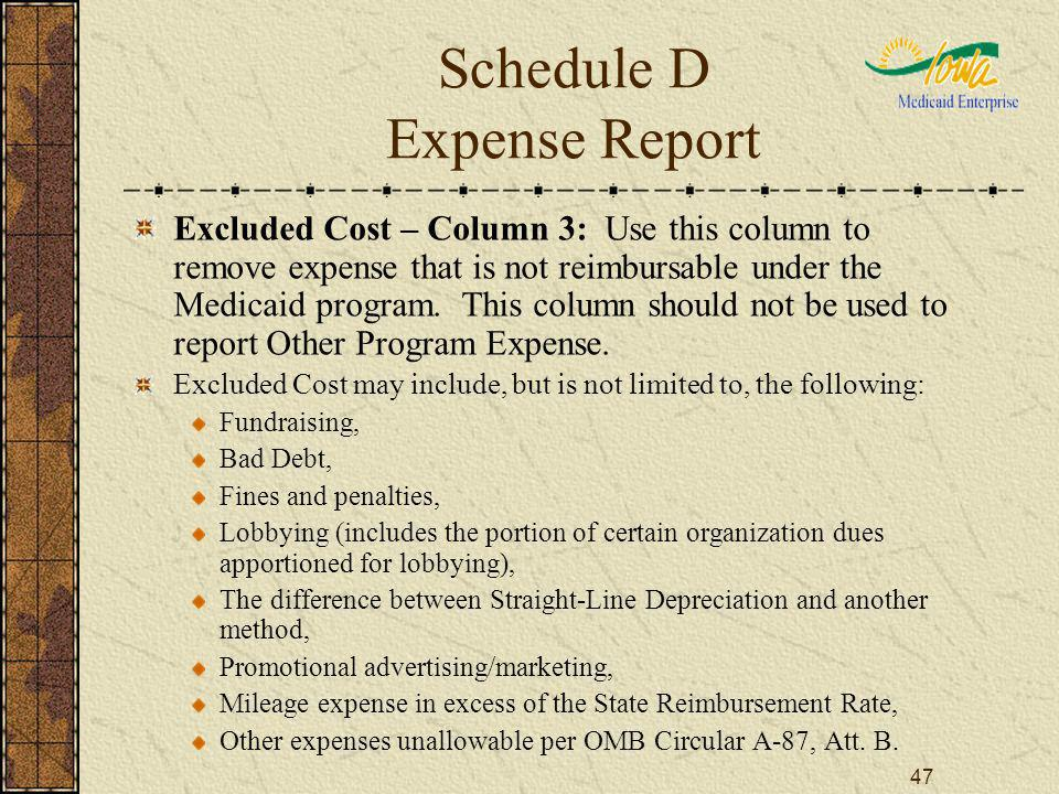 47 Schedule D Expense Report Excluded Cost – Column 3: Use this column to remove expense that is not reimbursable under the Medicaid program. This col