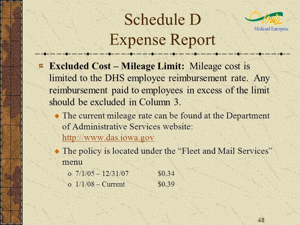 48 Schedule D Expense Report Excluded Cost – Mileage Limit: Mileage cost is limited to the DHS employee reimbursement rate. Any reimbursement paid to