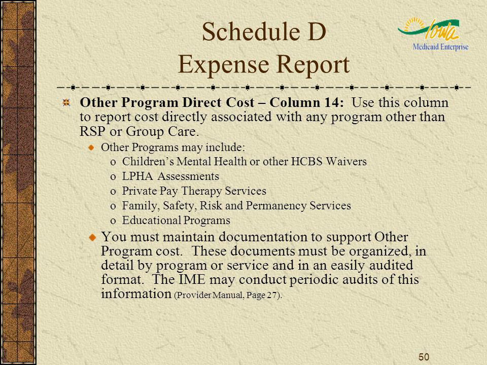 50 Schedule D Expense Report Other Program Direct Cost – Column 14: Use this column to report cost directly associated with any program other than RSP or Group Care.