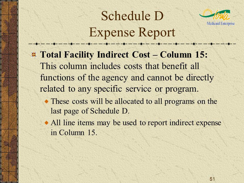 51 Schedule D Expense Report Total Facility Indirect Cost – Column 15: This column includes costs that benefit all functions of the agency and cannot be directly related to any specific service or program.