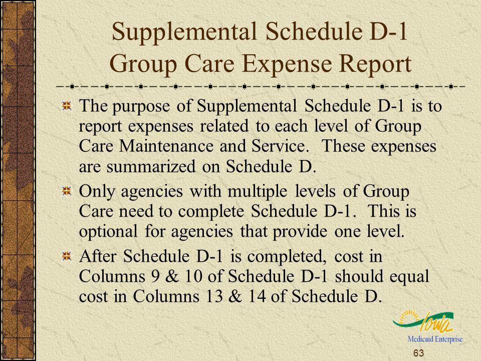 63 Supplemental Schedule D-1 Group Care Expense Report The purpose of Supplemental Schedule D-1 is to report expenses related to each level of Group C