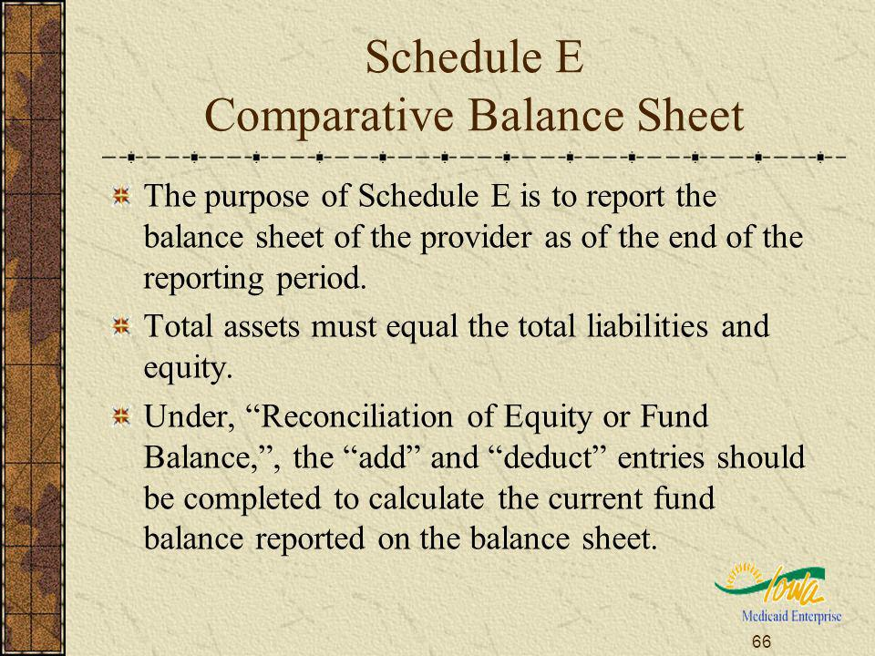 66 Schedule E Comparative Balance Sheet The purpose of Schedule E is to report the balance sheet of the provider as of the end of the reporting period