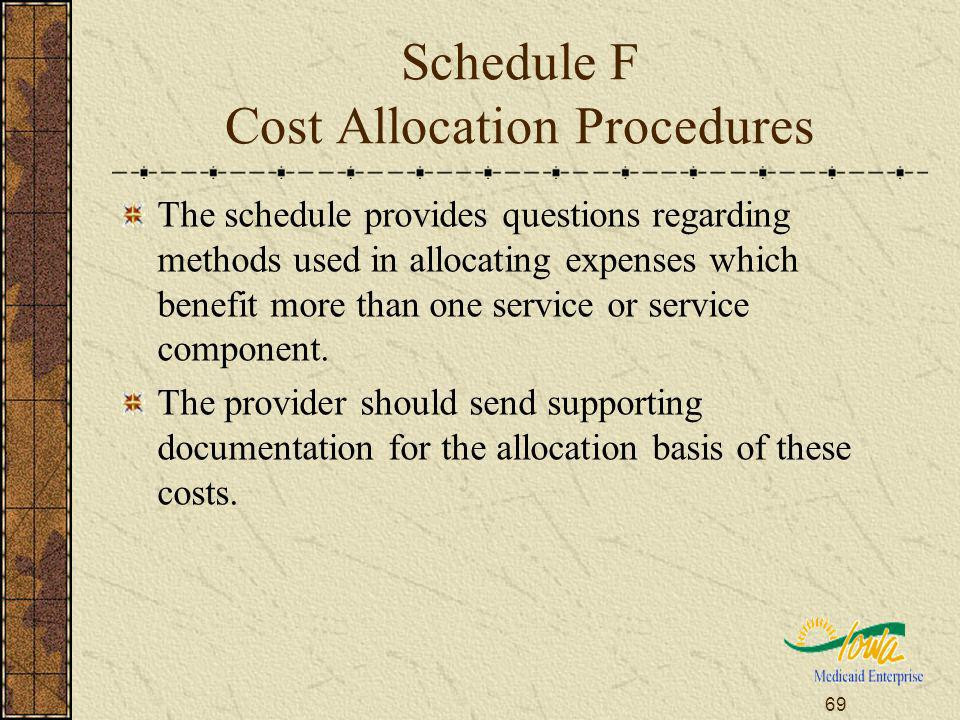69 Schedule F Cost Allocation Procedures The schedule provides questions regarding methods used in allocating expenses which benefit more than one ser