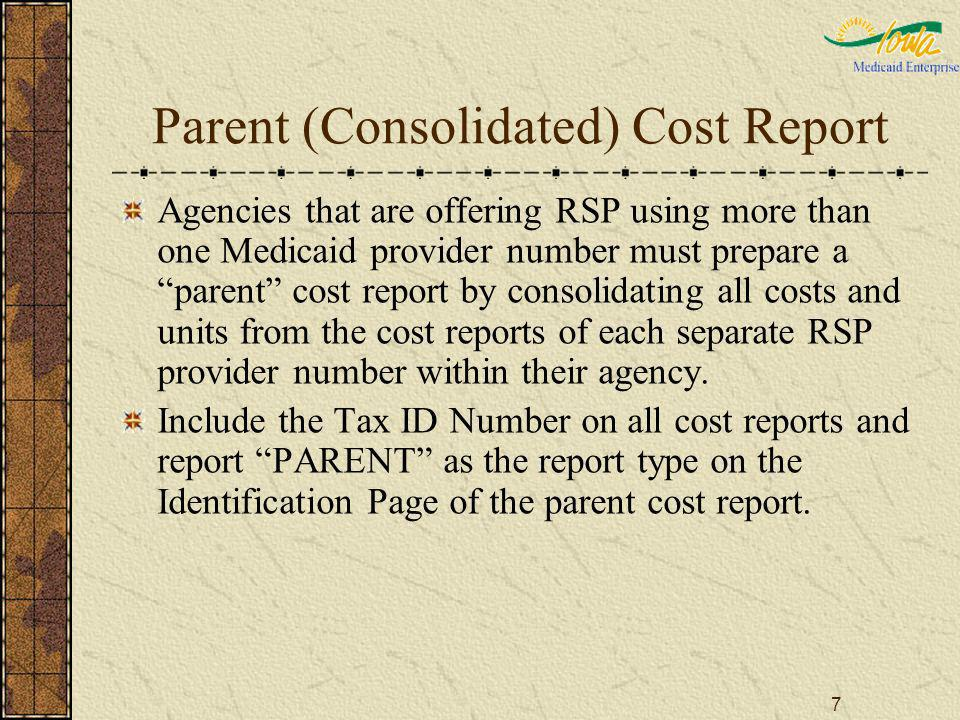 7 Parent (Consolidated) Cost Report Agencies that are offering RSP using more than one Medicaid provider number must prepare a parent cost report by c