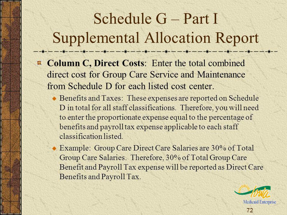 72 Schedule G – Part I Supplemental Allocation Report Column C, Direct Costs: Enter the total combined direct cost for Group Care Service and Maintenance from Schedule D for each listed cost center.