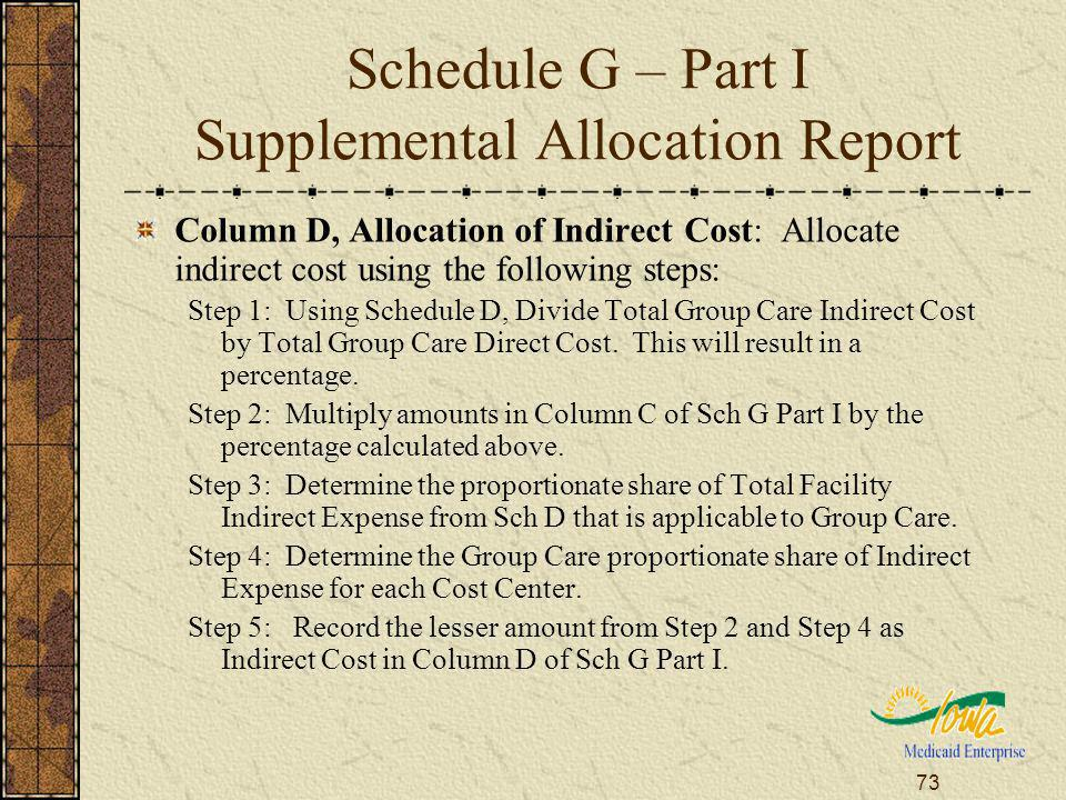 73 Schedule G – Part I Supplemental Allocation Report Column D, Allocation of Indirect Cost: Allocate indirect cost using the following steps: Step 1:
