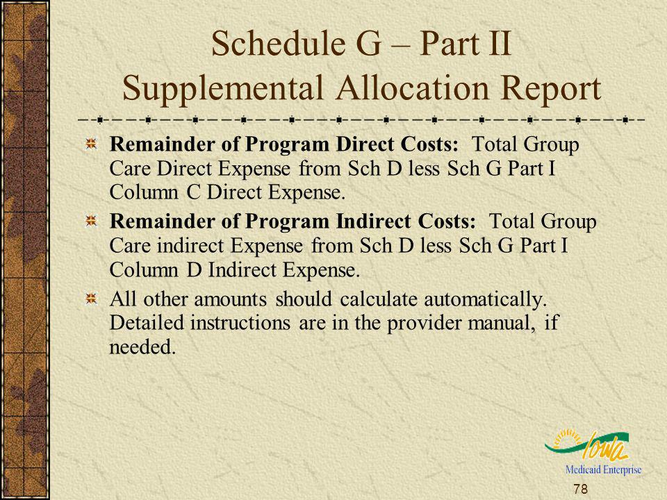 78 Schedule G – Part II Supplemental Allocation Report Remainder of Program Direct Costs: Total Group Care Direct Expense from Sch D less Sch G Part I