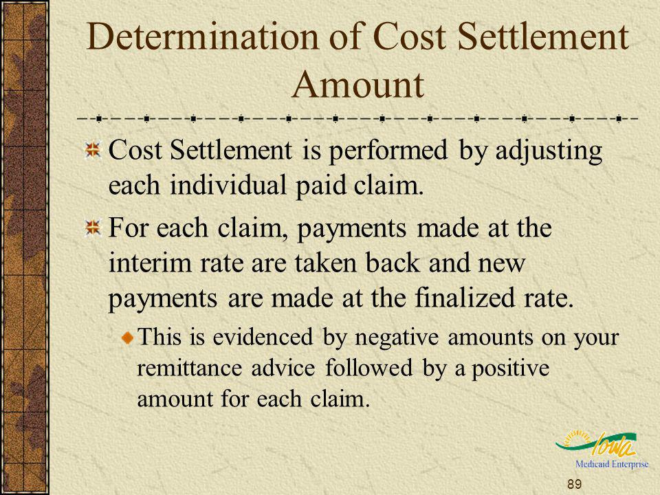 89 Determination of Cost Settlement Amount Cost Settlement is performed by adjusting each individual paid claim.