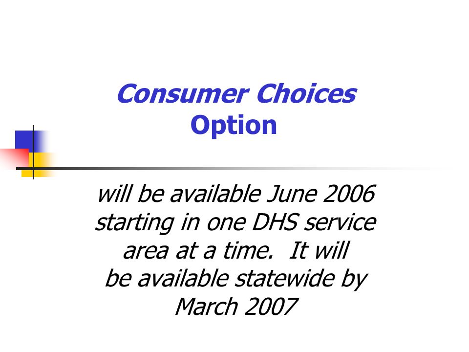 Consumer Choices Option will be available June 2006 starting in one DHS service area at a time. It will be available statewide by March 2007