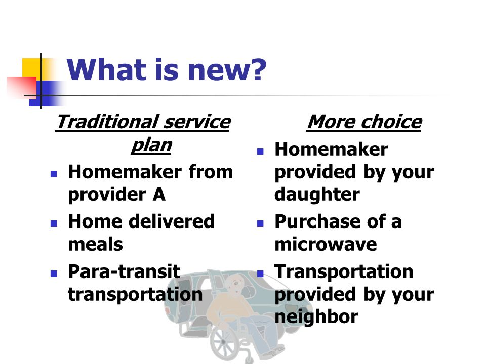 What is new? Traditional service plan Homemaker from provider A Home delivered meals Para-transit transportation More choice Homemaker provided by you