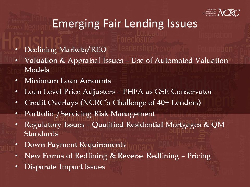 Emerging Fair Lending Issues Declining Markets/REO Valuation & Appraisal Issues – Use of Automated Valuation Models Minimum Loan Amounts Loan Level Pr