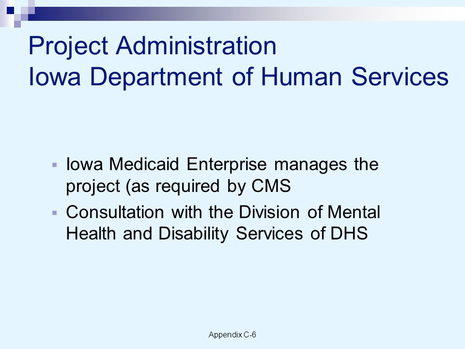 Appendix C-6 Project Administration Iowa Department of Human Services Iowa Medicaid Enterprise manages the project (as required by CMS Consultation with the Division of Mental Health and Disability Services of DHS