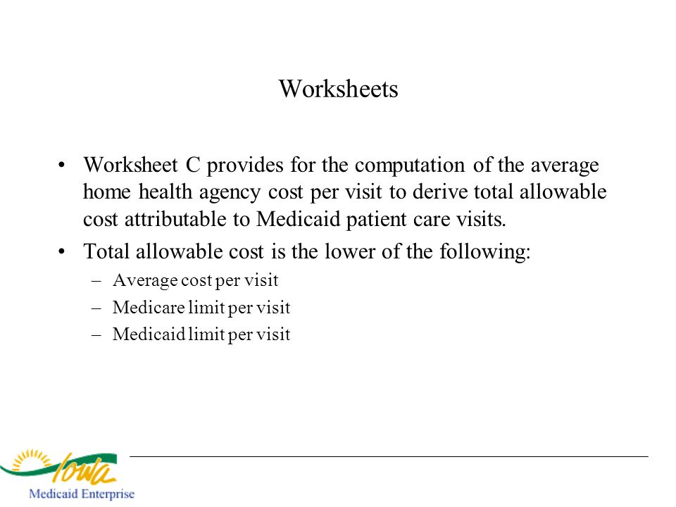 Worksheets Worksheet C provides for the computation of the average home health agency cost per visit to derive total allowable cost attributable to Me