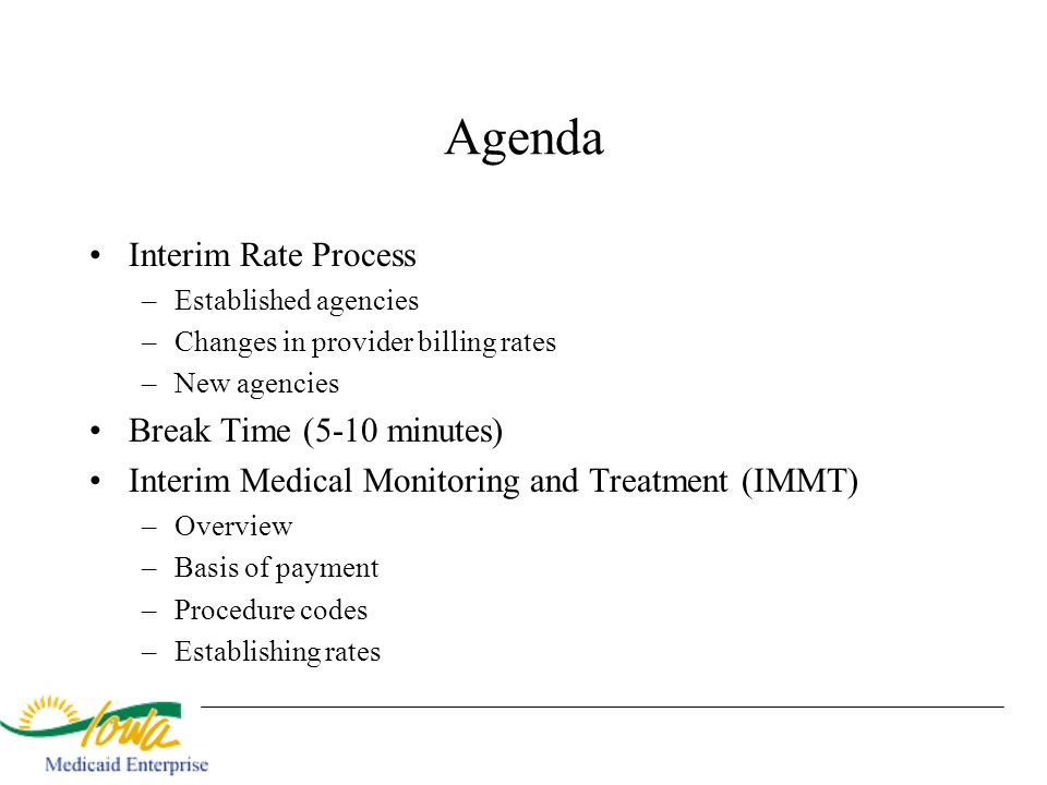 Agenda Interim Rate Process –Established agencies –Changes in provider billing rates –New agencies Break Time (5-10 minutes) Interim Medical Monitorin