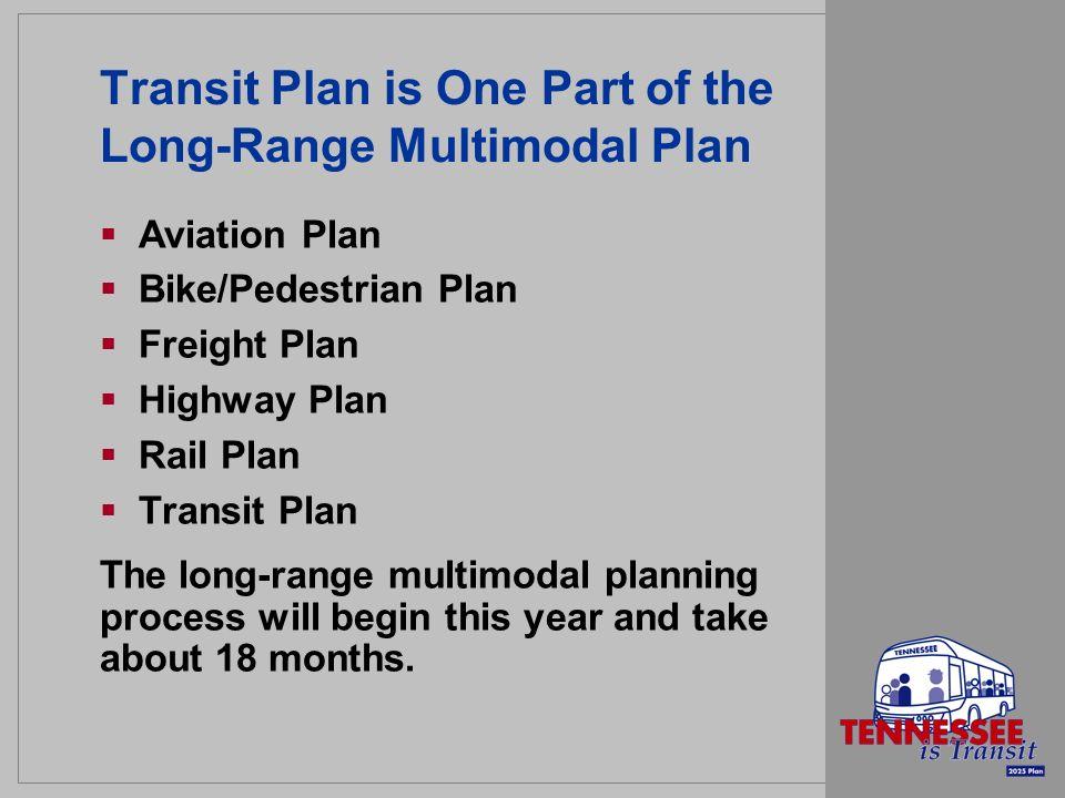 Transit Plan is One Part of the Long-Range Multimodal Plan Aviation Plan Bike/Pedestrian Plan Freight Plan Highway Plan Rail Plan Transit Plan The long-range multimodal planning process will begin this year and take about 18 months.