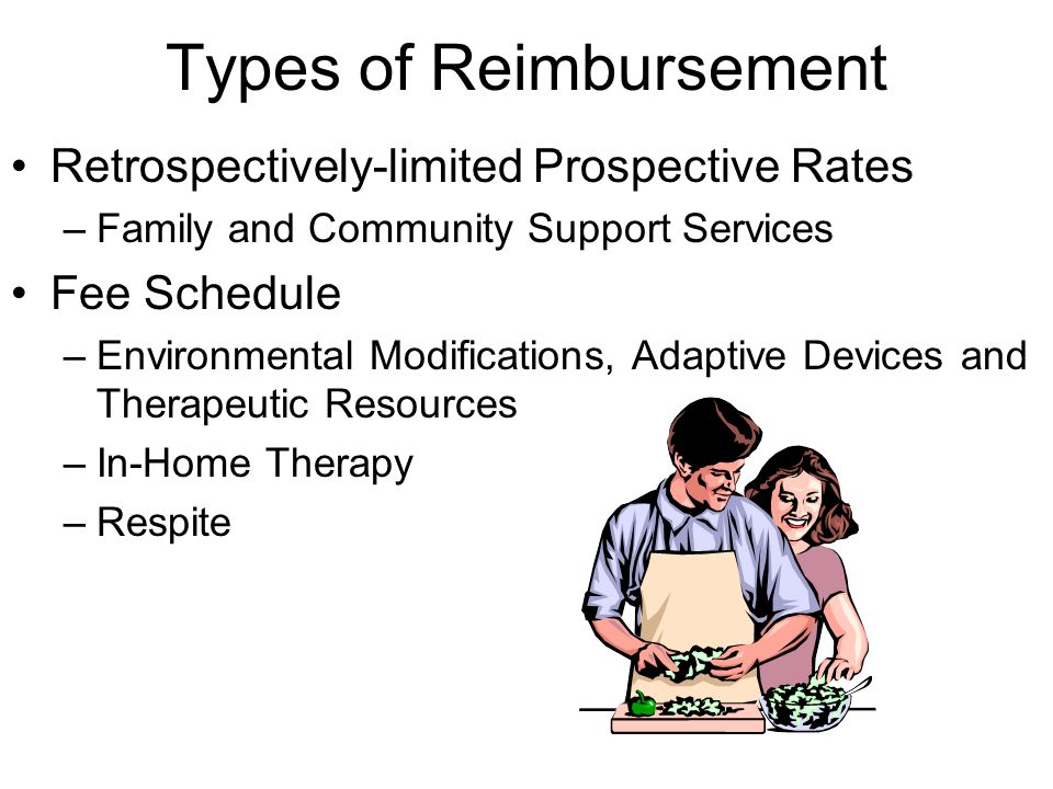 Types of Reimbursement Retrospectively-limited Prospective Rates –Family and Community Support Services Fee Schedule –Environmental Modifications, Adaptive Devices and Therapeutic Resources –In-Home Therapy –Respite