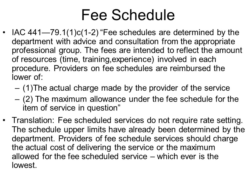 Fee Schedule IAC 44179.1(1)c(1-2) Fee schedules are determined by the department with advice and consultation from the appropriate professional group.