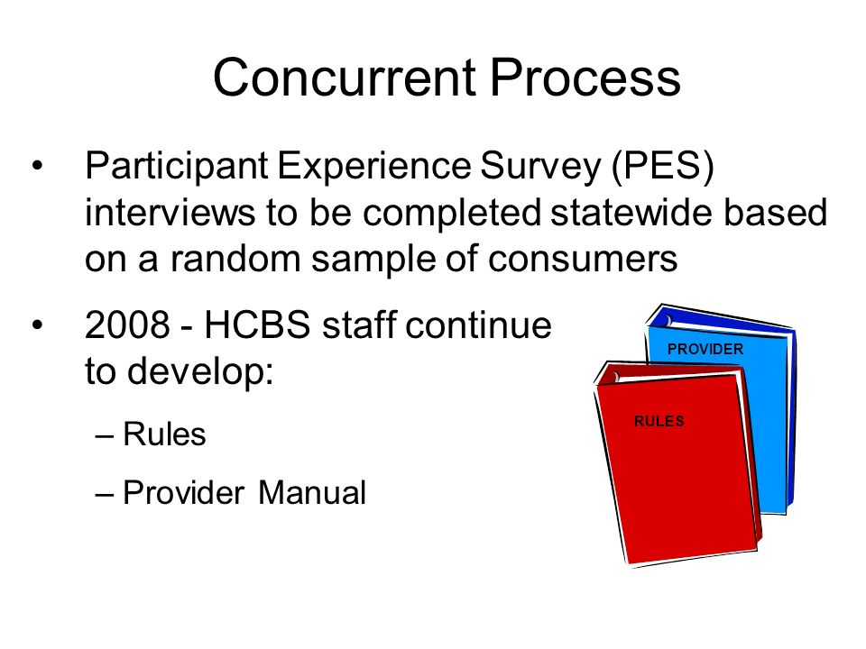 Concurrent Process Participant Experience Survey (PES) interviews to be completed statewide based on a random sample of consumers HCBS staff continue to develop: –Rules –Provider Manual RULES PROVIDER
