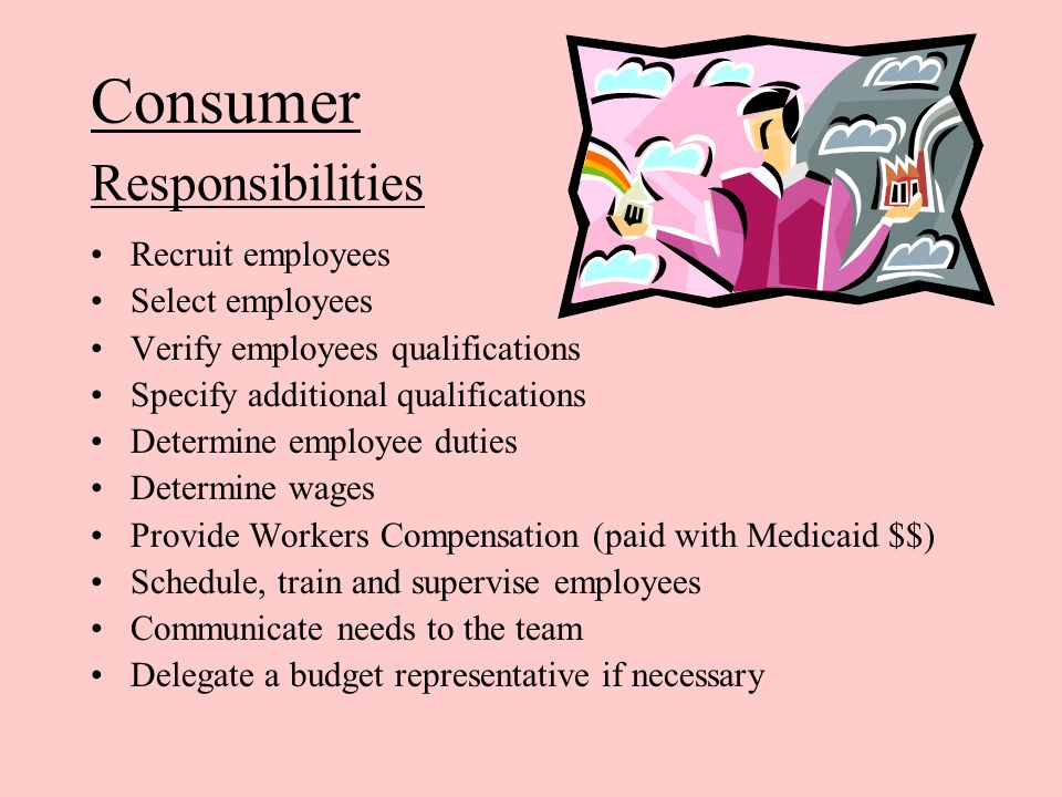 Consumer Responsibilities Recruit employees Select employees Verify employees qualifications Specify additional qualifications Determine employee duti
