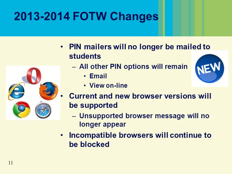 11 2013-2014 FOTW Changes PIN mailers will no longer be mailed to students –All other PIN options will remain Email View on-line Current and new browser versions will be supported –Unsupported browser message will no longer appear Incompatible browsers will continue to be blocked