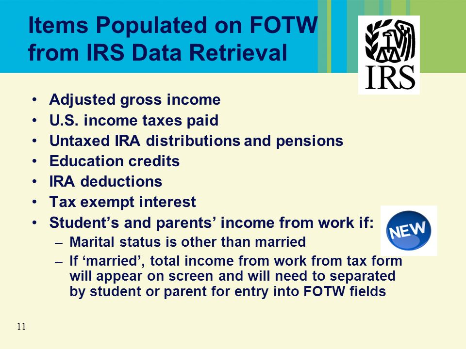 11 Items Populated on FOTW from IRS Data Retrieval Adjusted gross income U.S.