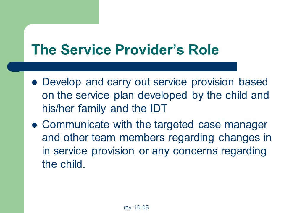 rev. 10-05 The Service Providers Role Develop and carry out service provision based on the service plan developed by the child and his/her family and