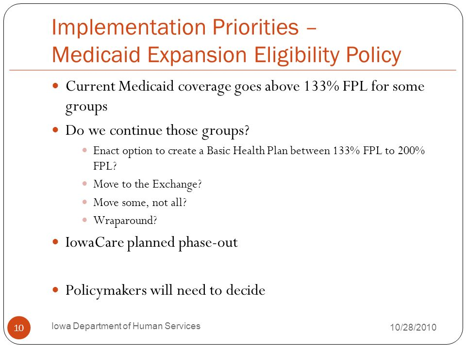 Implementation Priorities – Medicaid Expansion Eligibility Policy Current Medicaid coverage goes above 133% FPL for some groups Do we continue those g