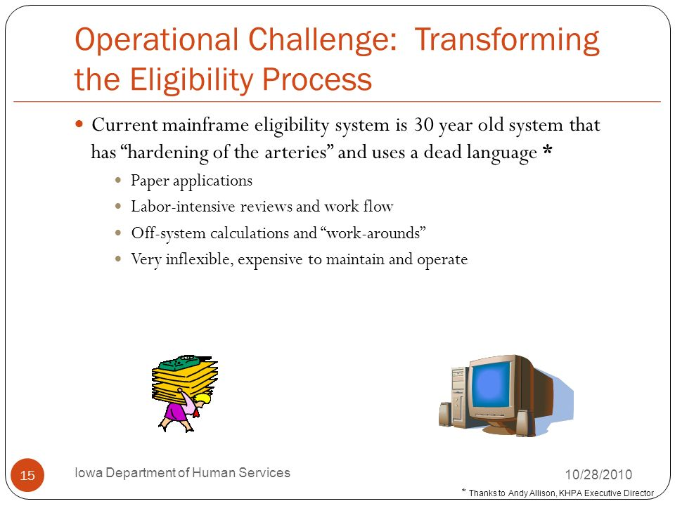 Operational Challenge: Transforming the Eligibility Process Current mainframe eligibility system is 30 year old system that has hardening of the arter