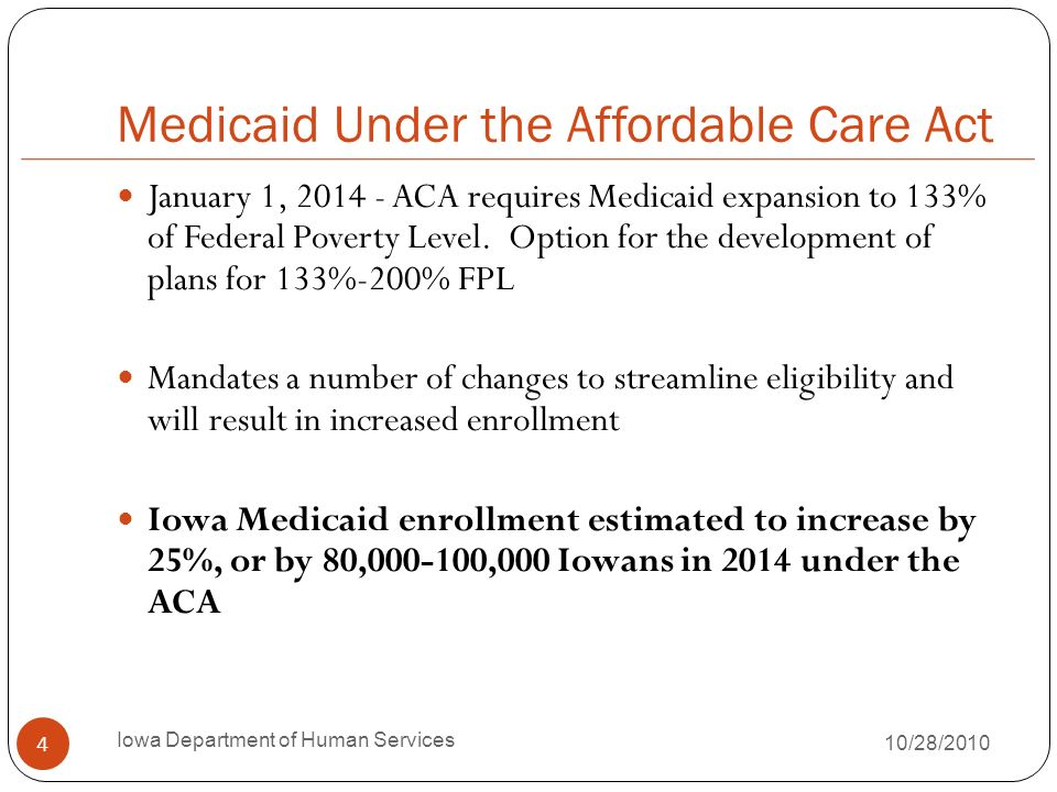 Medicaid Eligibility since 1965 Historically, Medicaid eligibility linked to other public assistance programs Partial delinking over time, i.e., formal separation of AFDC/Medicaid with implementation of TANF in 1995 However, from a practical perspective, Medicaid eligibility still dependent on federal categories (children, pregnant women, parents, elderly, disabled) Single adults/childless couples always excluded even with $0 income 5 Iowa Department of Human Services 10/28/2010