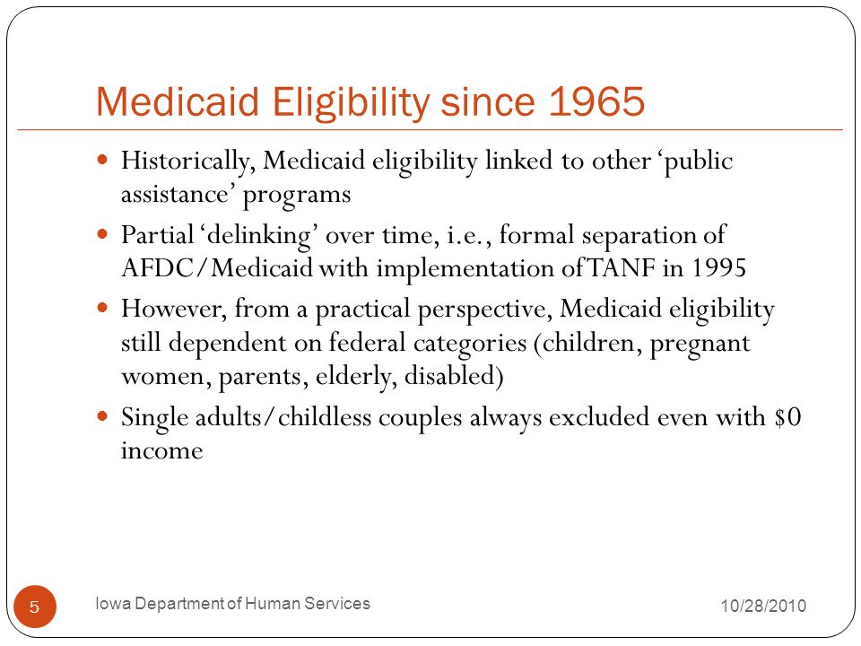 Medicaid Eligibility since 1965 Historically, Medicaid eligibility linked to other public assistance programs Partial delinking over time, i.e., forma
