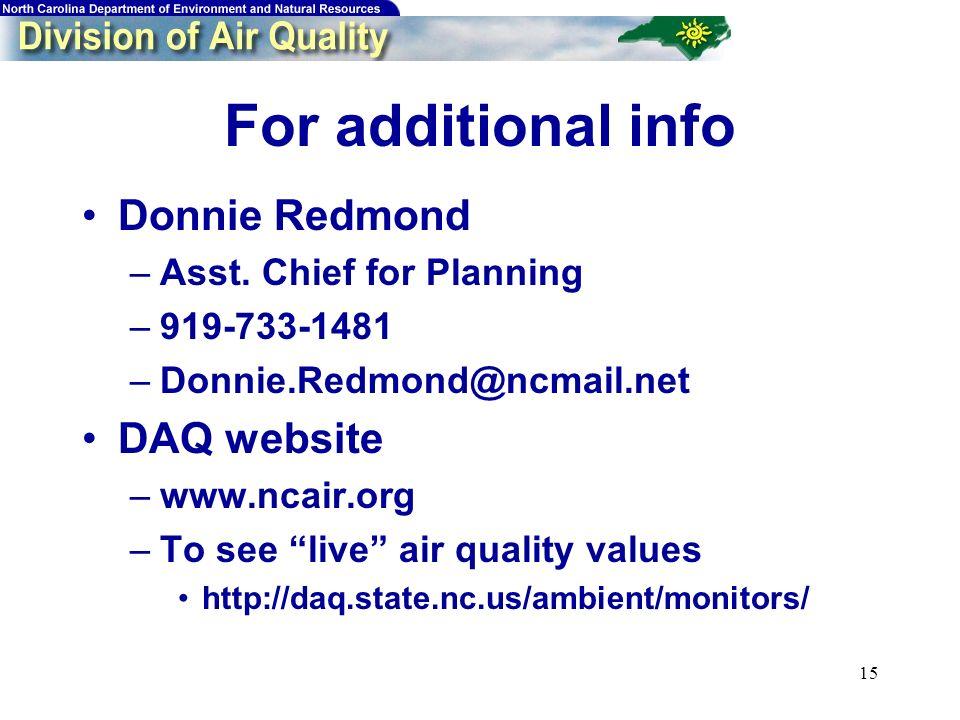 15 For additional info Donnie Redmond –Asst.