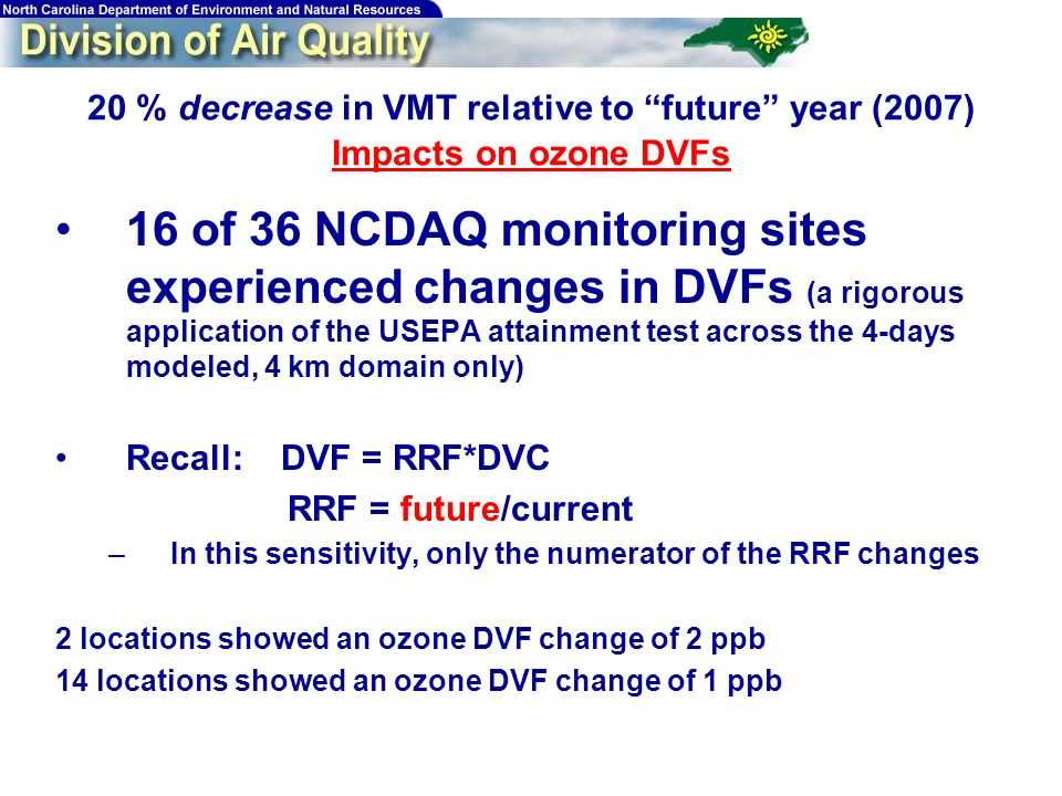 20 % decrease in VMT relative to future year (2007) Impacts on ozone DVFs 16 of 36 NCDAQ monitoring sites experienced changes in DVFs (a rigorous application of the USEPA attainment test across the 4-days modeled, 4 km domain only) Recall: DVF = RRF*DVC RRF = future/current –In this sensitivity, only the numerator of the RRF changes 2 locations showed an ozone DVF change of 2 ppb 14 locations showed an ozone DVF change of 1 ppb