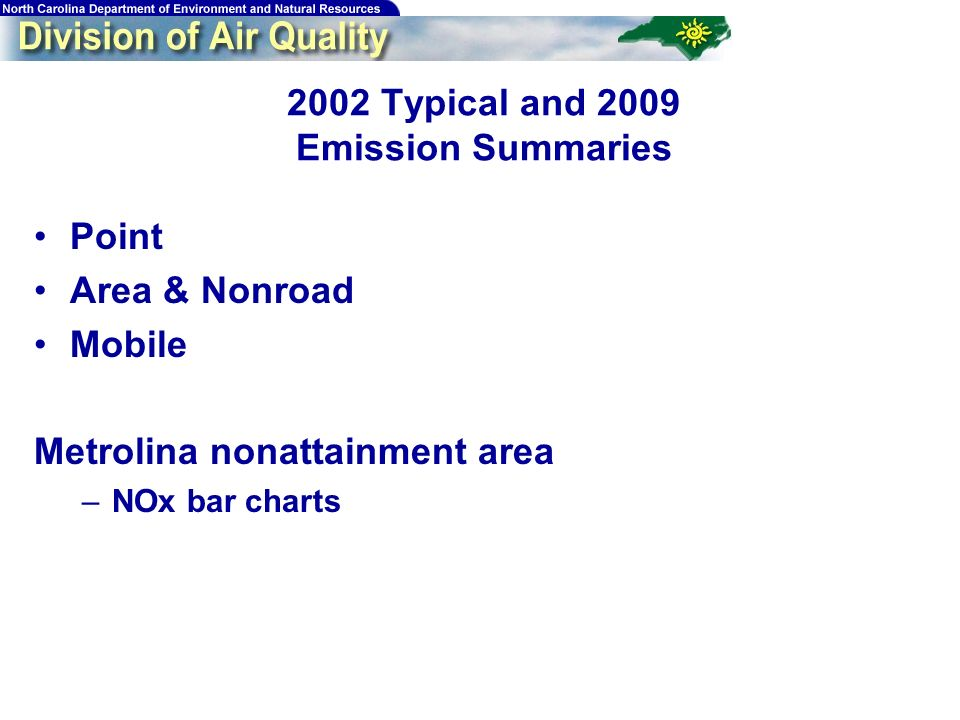 Typical and 2009 Emission Summaries Point Area & Nonroad Mobile Metrolina nonattainment area –NOx bar charts