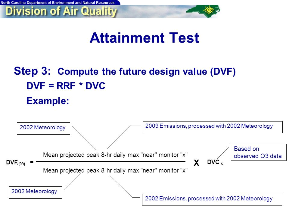 56 Attainment Test Step 3: Compute the future design value (DVF) DVF = RRF * DVC Example: DVF x(09) = Mean projected peak 8-hr daily max near monitor x DVC x X Based on observed O3 data 2002 Meteorology 2002 Emissions, processed with 2002 Meteorology 2002 Meteorology 2009 Emissions, processed with 2002 Meteorology