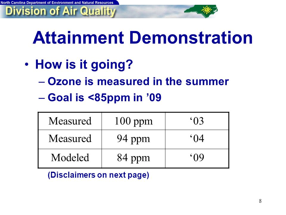 8 Attainment Demonstration How is it going.