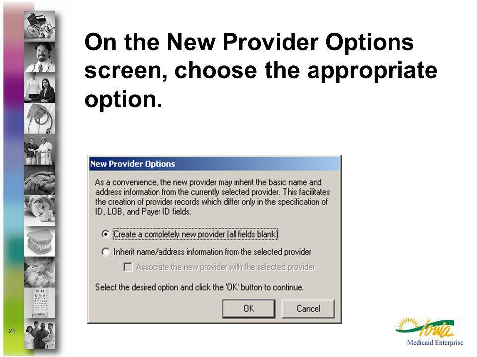 22 On the New Provider Options screen, choose the appropriate option.