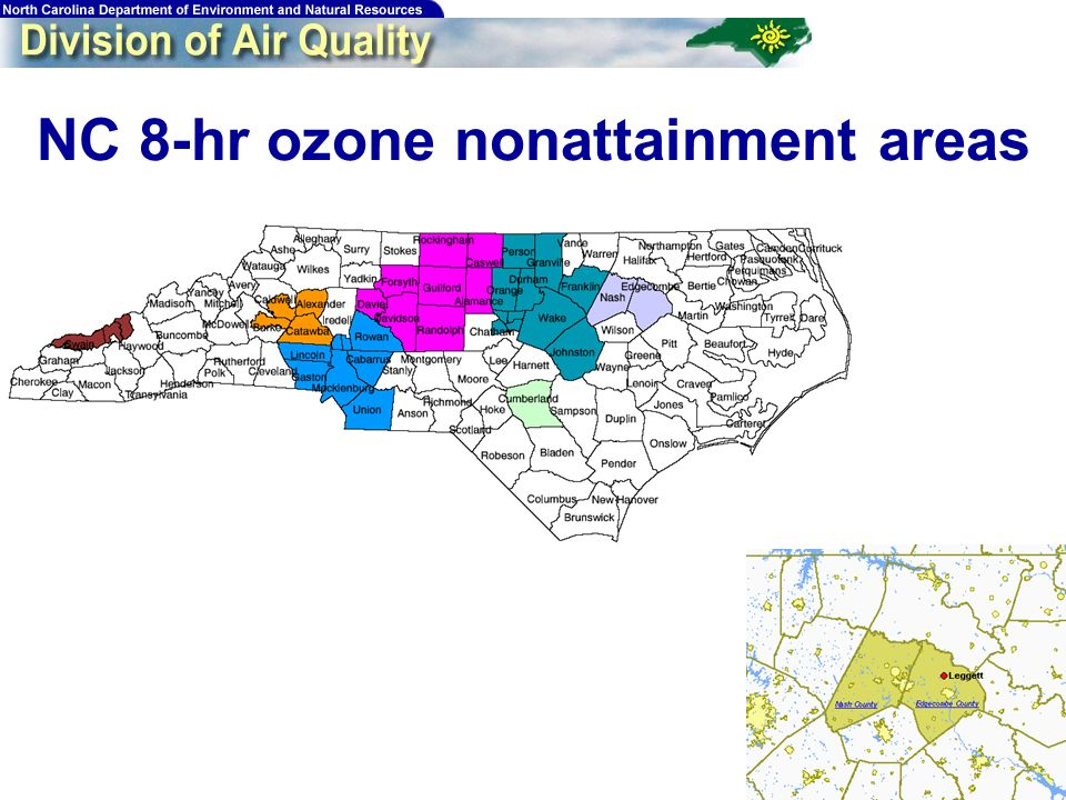 Rocky Mount 8-hr Ozone Design Values Monitor Leggett County Edgecombe 01-03 89 02-04 85 2005* 94 * 4 th highest 8-hr max in 2005 can be no higher than this value in order to attain by the end of the 2005 ozone season.