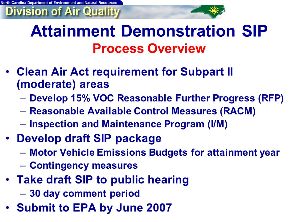 Attainment Demonstration SIP Process Overview Clean Air Act requirement for Subpart II (moderate) areas –Develop 15% VOC Reasonable Further Progress (RFP) –Reasonable Available Control Measures (RACM) –Inspection and Maintenance Program (I/M) Develop draft SIP package –Motor Vehicle Emissions Budgets for attainment year –Contingency measures Take draft SIP to public hearing –30 day comment period Submit to EPA by June 2007