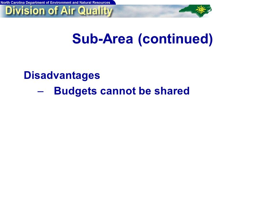 Sub-Area (continued) Disadvantages –Budgets cannot be shared