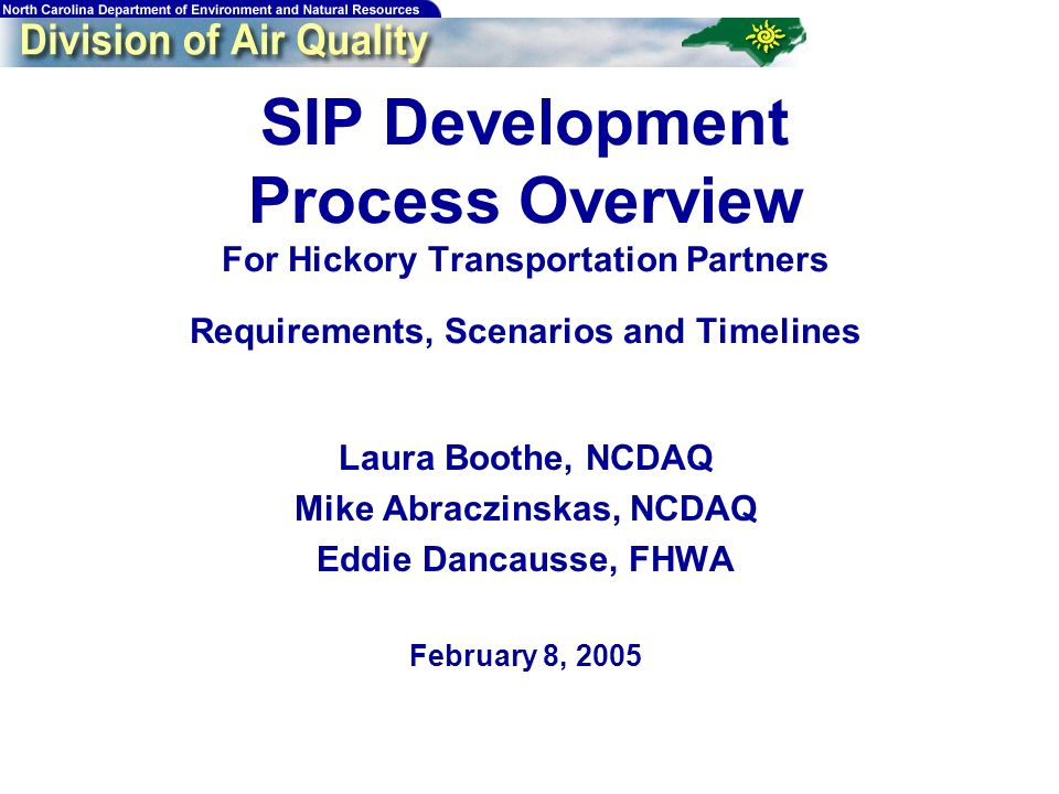 SIP Development Process Overview For Hickory Transportation Partners Requirements, Scenarios and Timelines Laura Boothe, NCDAQ Mike Abraczinskas, NCDA