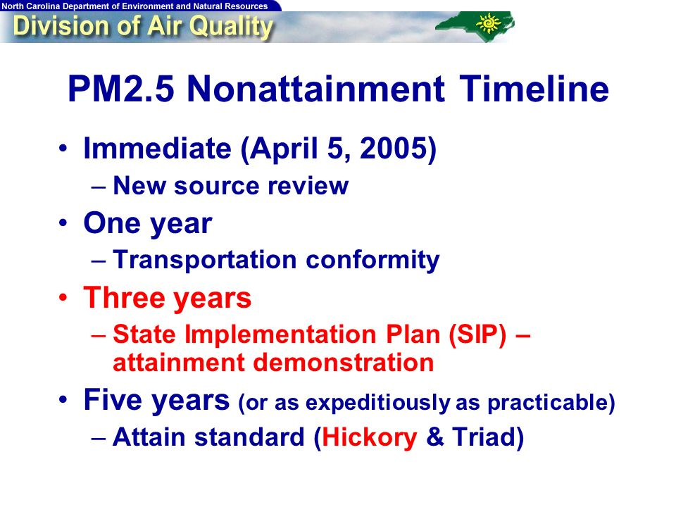 PM2.5 Nonattainment Timeline Immediate (April 5, 2005) –New source review One year –Transportation conformity Three years –State Implementation Plan (