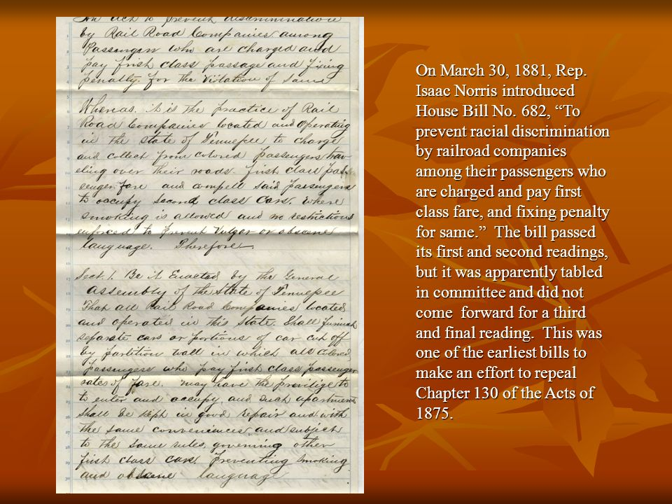 On March 30, 1881, Rep.Isaac Norris introduced House Bill No.