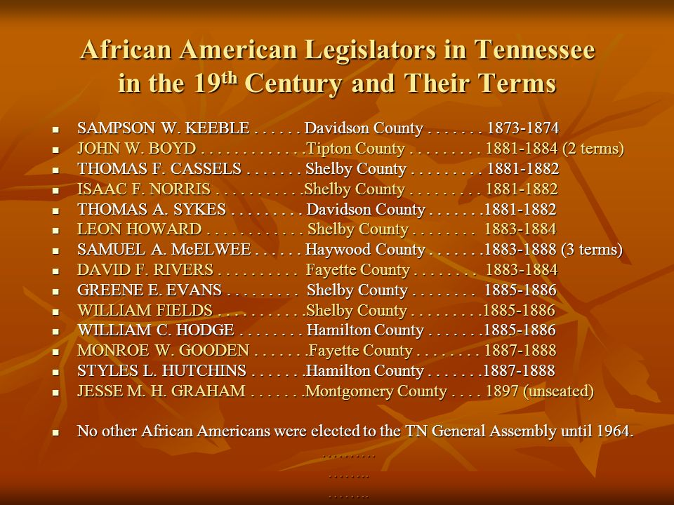 African American Legislators in Tennessee in the 19 th Century and Their Terms SAMPSON W.