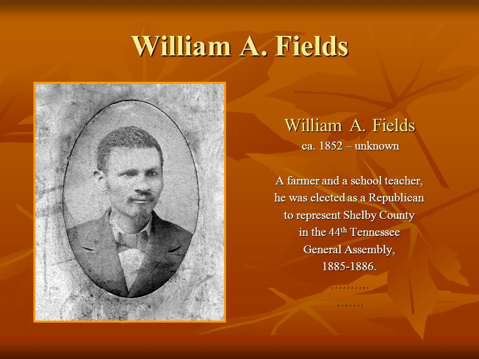 William A. Fields ca. 1852 – unknown ca. 1852 – unknown A farmer and a school teacher, he was elected as a Republican to represent Shelby County in th
