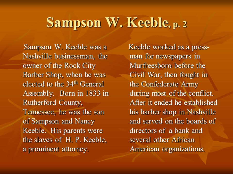Sampson W. Keeble, p. 2 Sampson W.