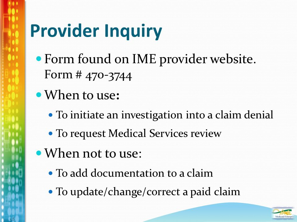 Provider Inquiry Form found on IME provider website.